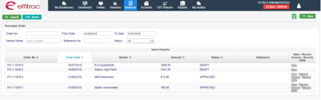Create Purchase Invoice in Sales management software